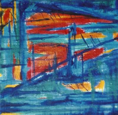 Niebieska kraina  - olej, płótno, wym. 20x20 cm