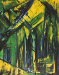 Tajemniczy las - olej, płótno, wym. 92x75 cm