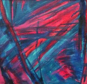 Uśpiony  - olej, płótno, wym. 33,5x33x5 cm