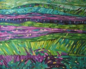 Pejzaż - akryl, płótno, wym. 75x92 cm