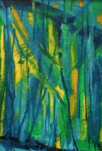 Niebieskie drzewa  - olej, płótno, wym. 20x30 cm