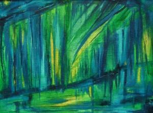 Cisza nad rzeką  - olej, płótno, wym. 30x40 cm