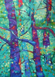 Kolorowy las - akryl, płótno, wym.