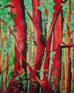 Lato w lesie - akryl, płótno, wym. 50x40 cm