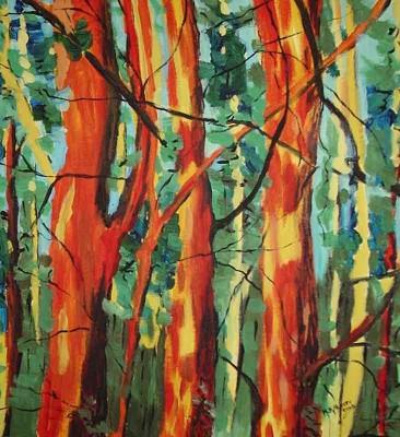 Lesne opowiesci - akryl, płótno, wym. 50x46 cm