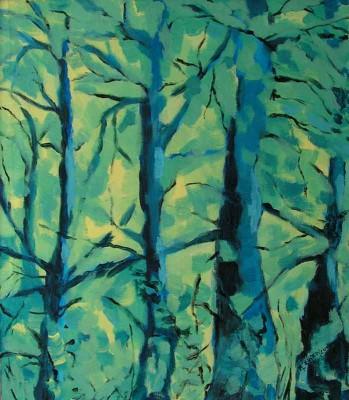 Male niebieskie drzewa - akryl, płótno, wym. 40x35 cm.