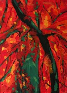 To już jesien - akryl, płótno, wym. 55x40 cm