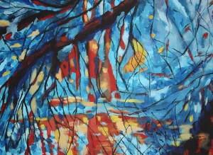 Wierzby nad rzeką - akryl, płótno, wym. 50-46 cm.