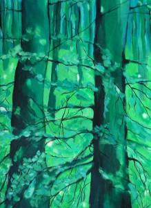 Wiosna w lesie - akryl, papier, wym. 52x37 cm