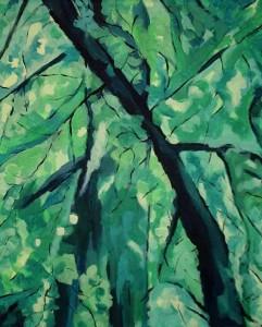 Zielony zakątek - akryl, płótno, wym. 61x50 cm