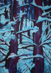 Zima w kolorze blue - akryl, płótno, wym. 70x50 cm