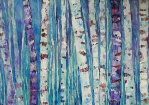 Brzezina - akryl, płótno, wym. 70x100 cm